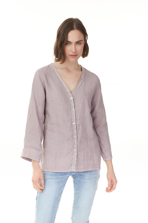 Roll up sleeve linen shirt with sequins detail