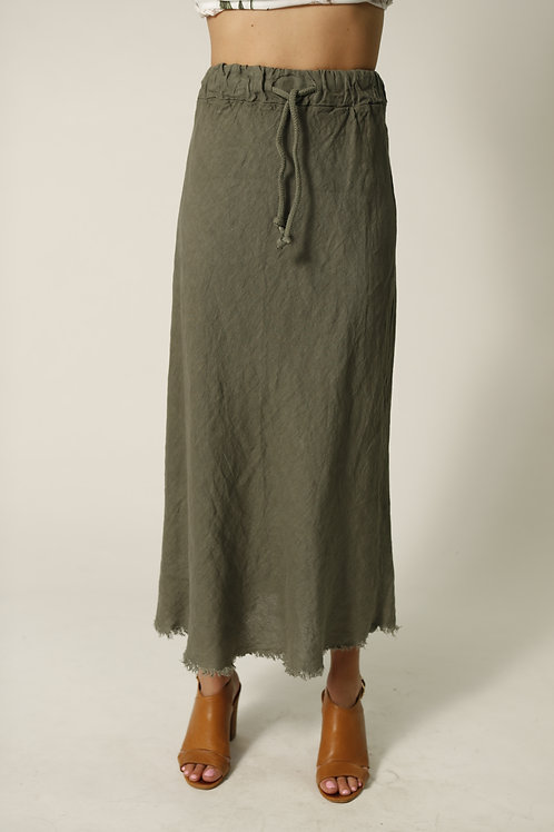 Linen Skirt With Raw Edge in colour Sage