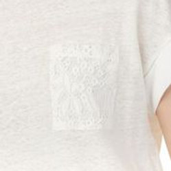 Linen Top With Lace Pocket