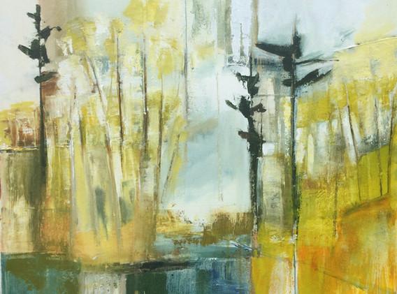 "Green Pond Reflection     24x24"""