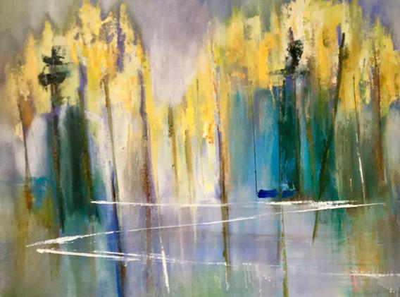 """Blue Pond Reflection    24x24"""""""