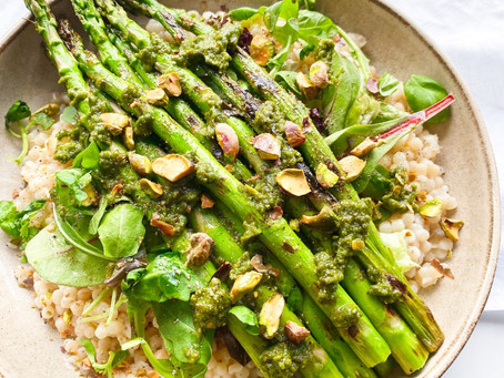 Roasted Asparagus with Pistachio Pesto and Pearl Couscous