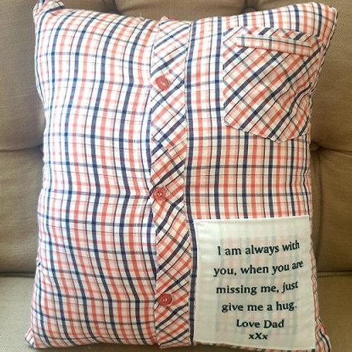 Australian handmade Memory Pillow Cover, Shirt Memory Pillow, Keepsake Pillow,