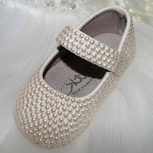 Pre Order Handmade pearl Baby Angela keepsake shoes with Swarovski Beads
