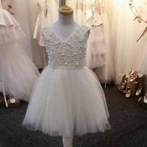 Sophia hand beaded pearl dress ivory- Custom made