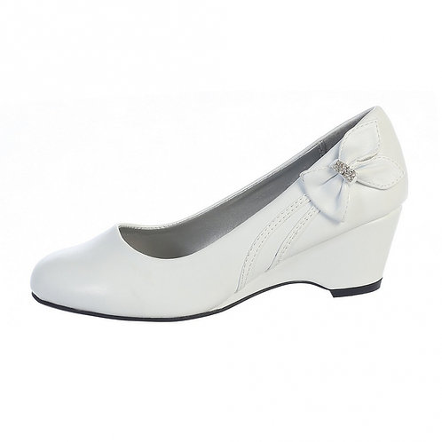 Wedge shoe with bow-White
