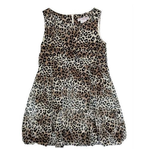 Aria balloon leopard dress-Brown