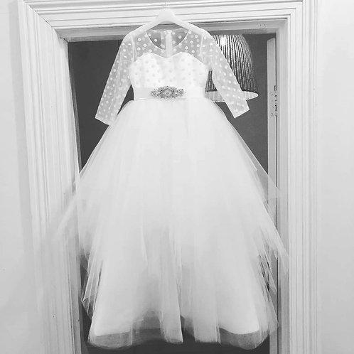 Custom made polkadot Dress - Communion, Flower Girl, Christening