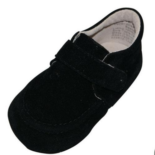 Felice Suede Velcro strap boys baby shoe - Black