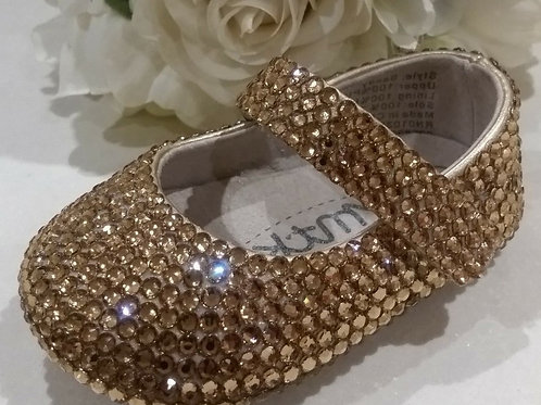 Pre order Isabella hand made Baby crystal keepsake shoes with Swarovski crystals