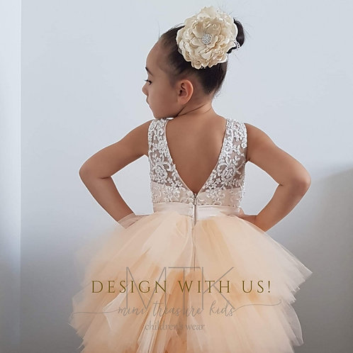 Elizabeth lace dress with high and low skirt  - Custom made