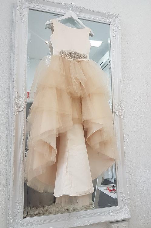 Custom made champagne Eva Girl Dress - Birthday Wedding, Flower girl, Communion