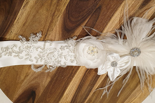 Sienna hand made Satin Belt with hand beading 3 flowers