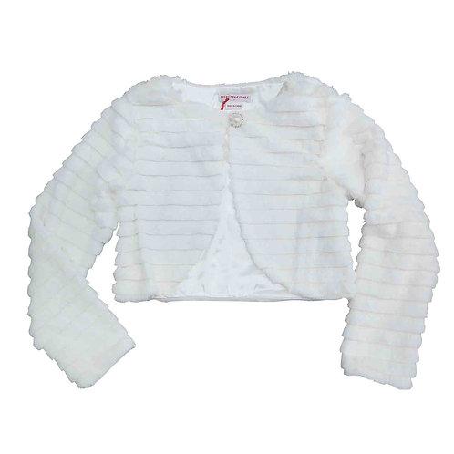 Striped Fur Jacket- Off white