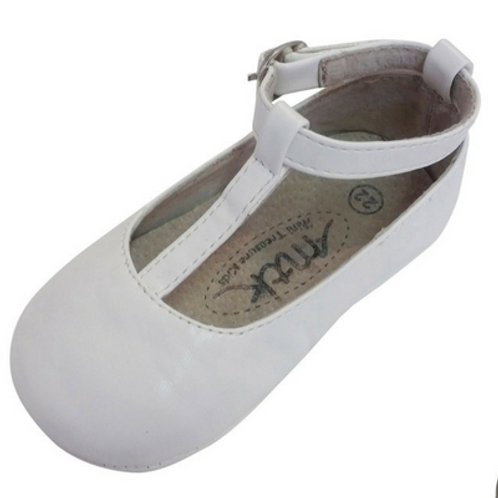 Tayla T bar baby shoes - White