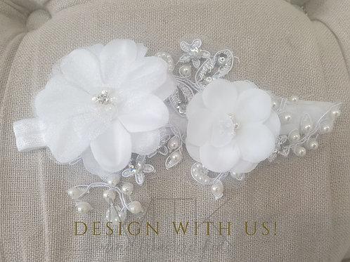 Custom made baby flower headband with beads