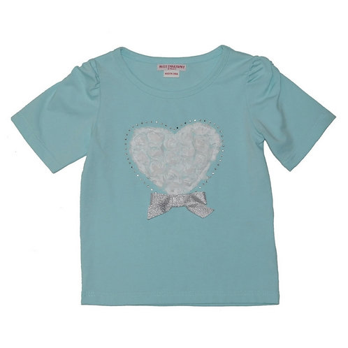 Pia heart top-Ice blue