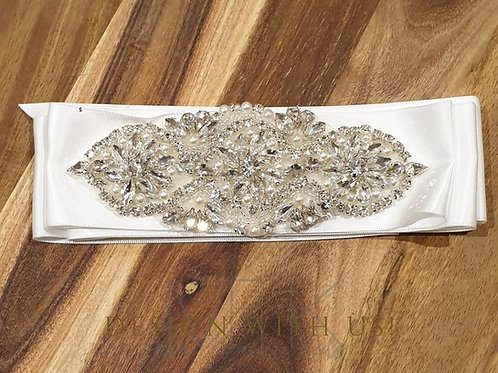 Hand made Satin Belt with pearl and diamonte