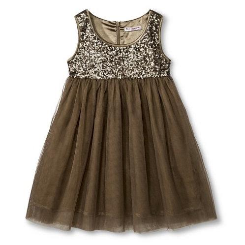 Sequins bodice dress - Latte