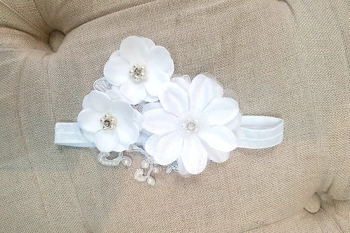 Custom made baby flower headband with lace