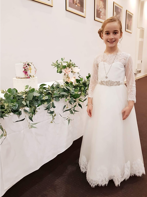 Jackie O flower girl/communion dress with lace *belt not included*