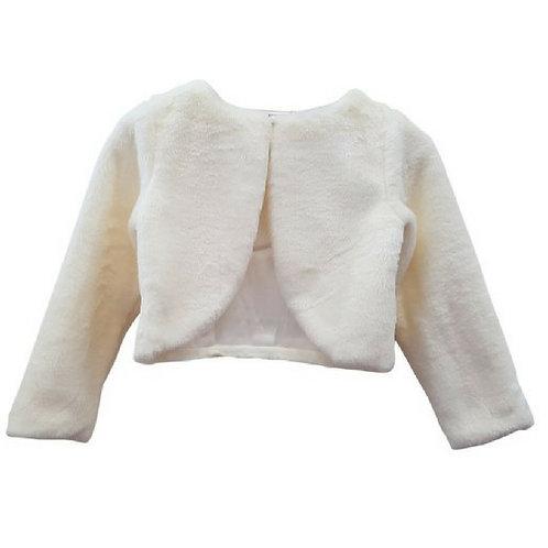 Plain Fur Jacket-Ivory