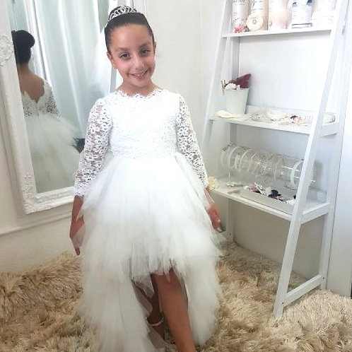 Custom made crotchet Girl Dress - Birthday Wedding, Flower Girl, Communi