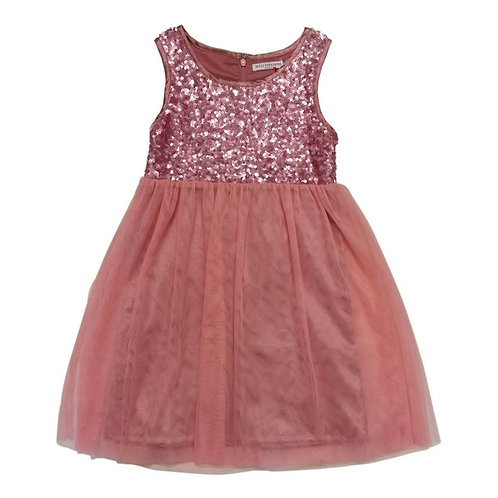 Ivy sequins dress with tulle-Pink