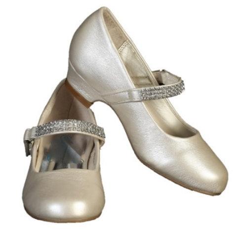 Rhinestone strap shoe with heel- Ivory
