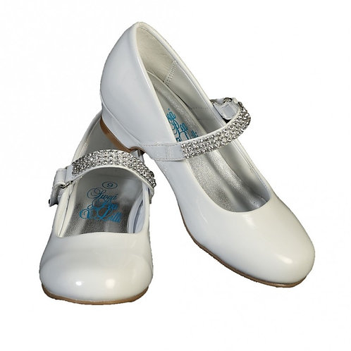 Rhinestone strap shoe with heel-White