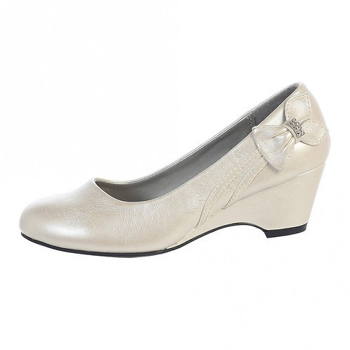 Wedge shoe with bow-Ivory