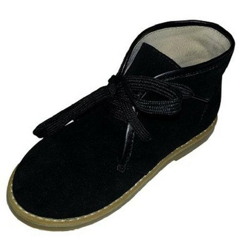 Joshua Boys Suede tie up boys boot- Black