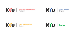 "New product logos from Kiu with an ""i"" that is shaped like a person"