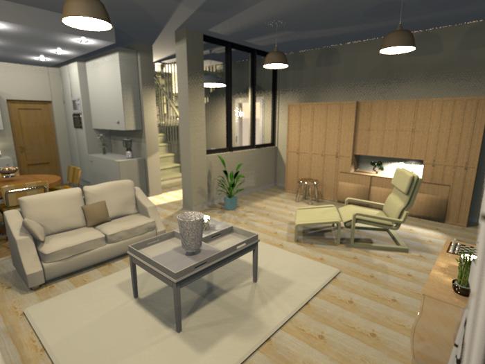 Image 3D sur un projet. Ouverture des espaces et parois de verre.
