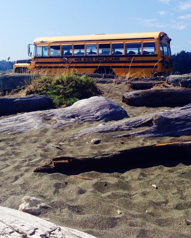 bus at the beach