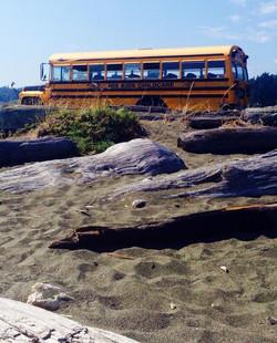 bus at the beach