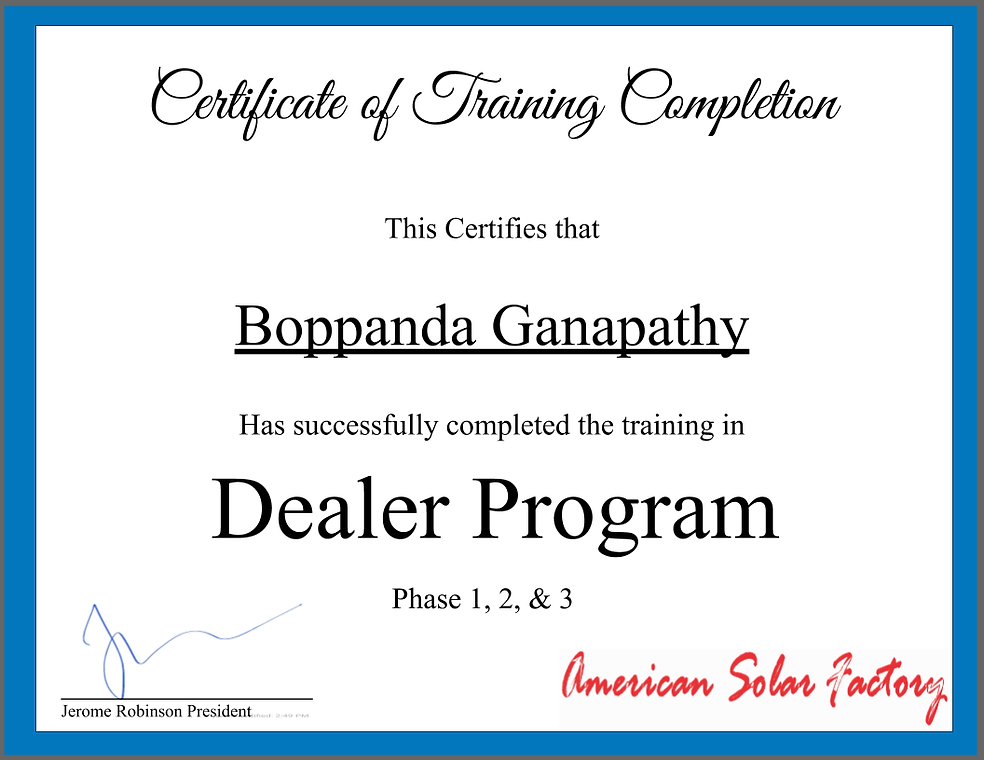 Phase Certificate for Boppanda Ganapathy