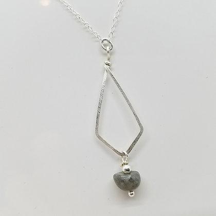 Brushed Sterling Silver Diamond Shape Necklace with Labradorite Gemstone