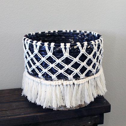 Forget Me Knots Macrame Criss-Cross Wicker Baskets