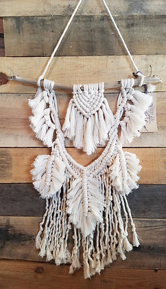 ONE-OF-A-KIND Forget Me Knots Macrame Spade Feathers Wall Hanging