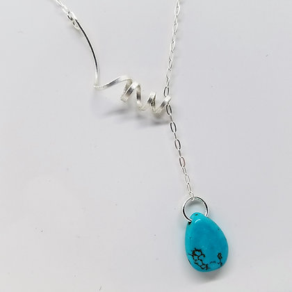 Sterling Silver Twisted Turquoise Necklace