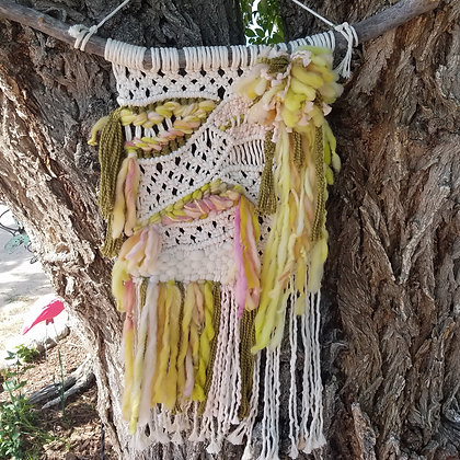 ONE-OF-A-KIND Large Green & Pink Macrame/Woven Beauty Wall Hanging