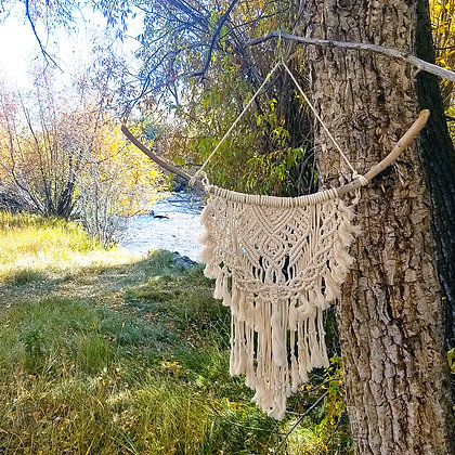 Medium Bohemian Macrame Ivory Wall Hanging