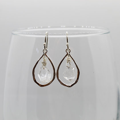 Teardrop Herkimer Diamond Earrings