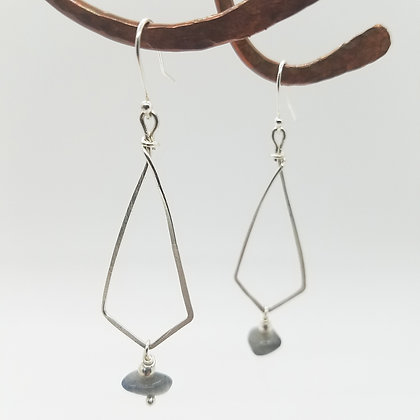 Sterling Silver Diamond Shape Earrings with Labradorite