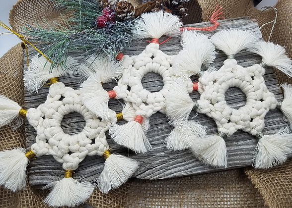 Forget Me Knots Macrame Starburst Snowflake Ornaments (Natural)
