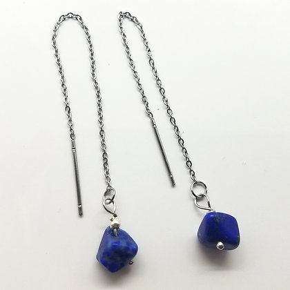 Glint Blue Lapis Thread Earrings