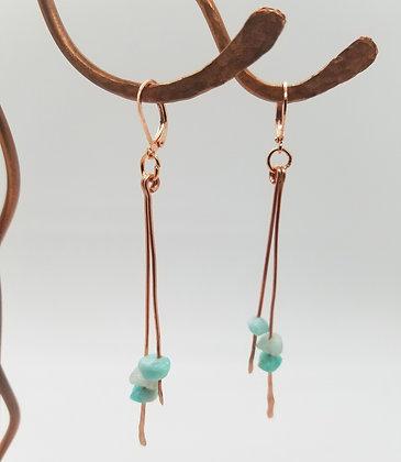 Hammered Copper & Amazonite Double Bar Dangle Earrings