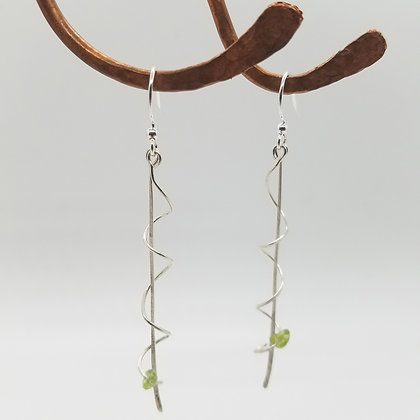 Dangle Twisted Peridot Earrings