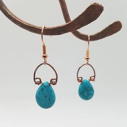 Glint Horseshoe Kingman Turquoise Earrings